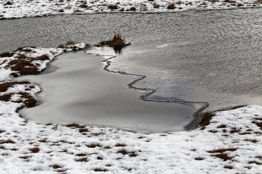 Ice formation on one of the small tarns near Great Castle How