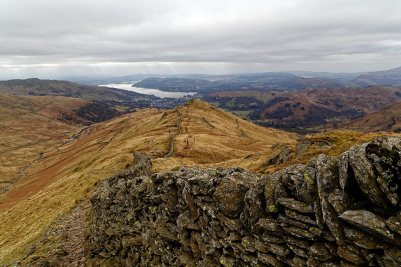 Looking down the ridge with Windermere in the distance